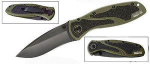 KERSHAW 1670OLBLK BLUR OLIVE/BLACK BLACK BLADE PLAIN EDGE FOLDING FOLDING KNIFE.