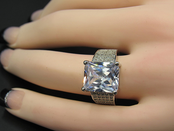 Princess Cut Sapphire Crystalized Band