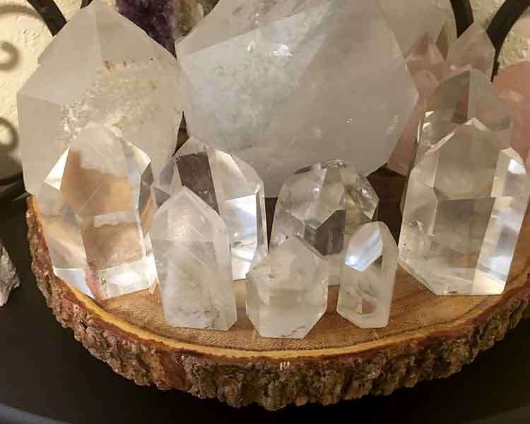 Selection of Clear Quartz Crystals on a tray
