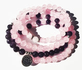 Rose Quartz  Mala bead bracelet necklace with Amethyst - Energy Peace Shop