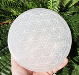 "Selenite Charging Plate Engraved Flower Of Life 6"" - Energy Peace Shop"