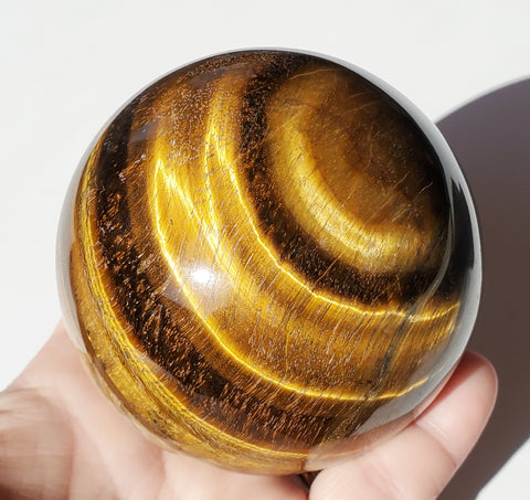 "Tiger's Eye Stone Sphere Large 3 1/8"" / 79 mm - Energy Peace Shop"