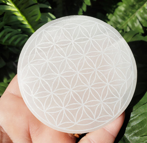 "Selenite Plate Small Engraved Flower Of Life 3"" - Energy Peace Shop"