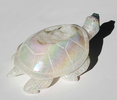Aura Quartz Turtle / Tortoise Geode large - Energy Peace Shop