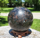 "Arfvedsonite Sphere Extra Large 6 1/2"" / 14 lb - Energy Peace Shop"