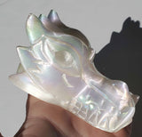 Selenite Crystal Rainbow Aura Dragon Head / Skull 12.4 oz - Energy Peace Shop
