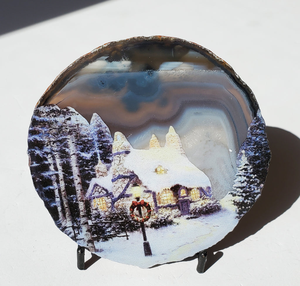 Agate slice painted / crystal decor - Energy Peace Shop