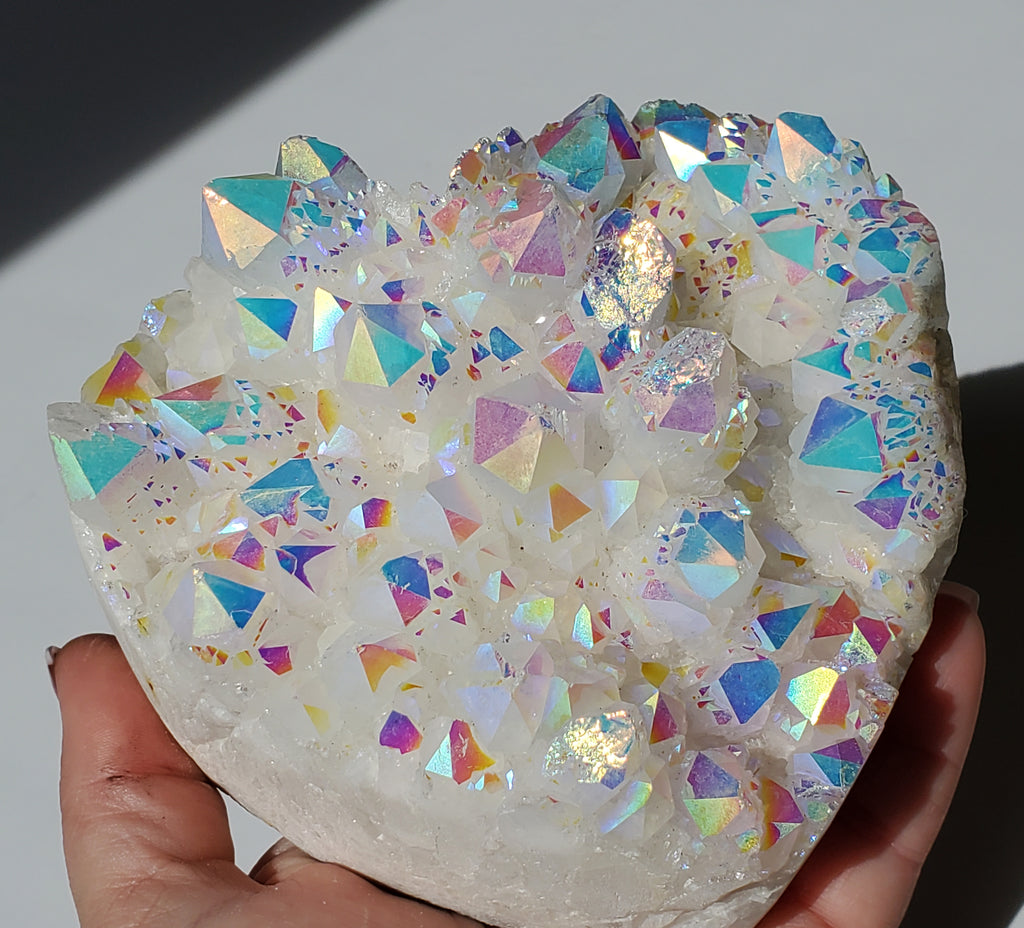 Angel Aura Quartz Crystal Cluster Heart - Opal Aura Quartz LARGE 2 lb 8.9 oz - Energy Peace Shop