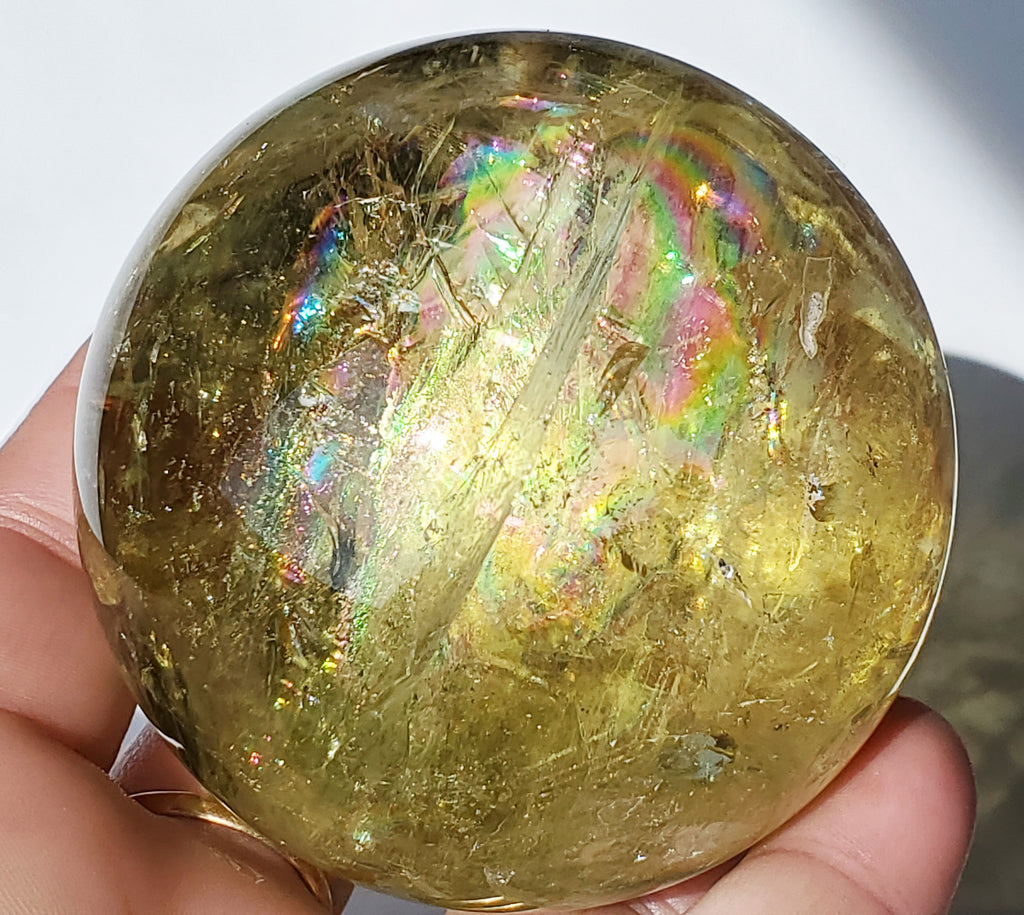 Citrine Sphere with rainbow inclusions 66 mm / 2 5/8""