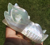 Selenite Crystal Rainbow Aura Dragon Head / Skull 11.6 oz - Energy Peace Shop