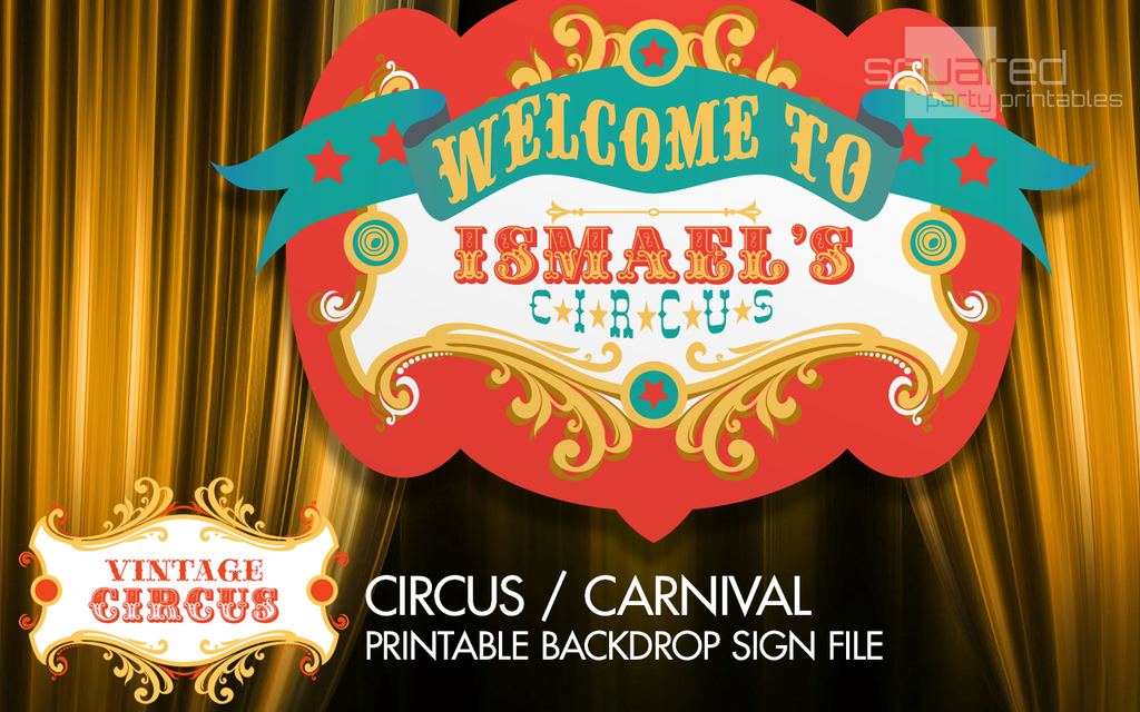 Personalized Circus Birthday Backdrop Party Printable Sign In Original Colors Vintage Carnival