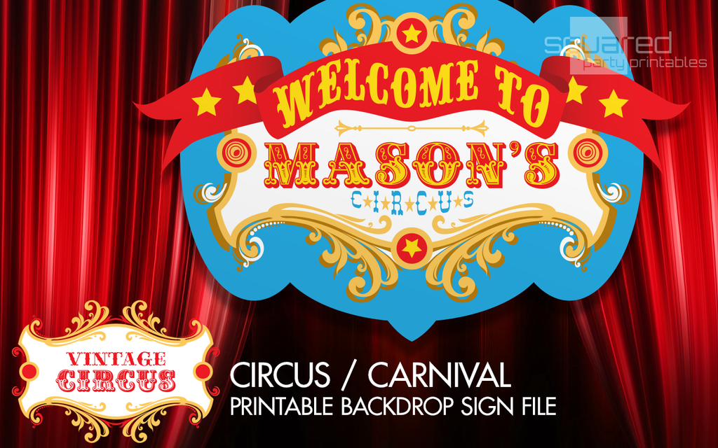 photograph about Printable Backdrop referred to as Custom-made Circus Birthday Backdrop Bash Printable Indication inside of Basic Shades, Common Carnival Bash Indicator, Circo Carnaval, PDF report yourself print you