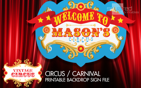 personalized circus birthday backdrop party printable sign in bright