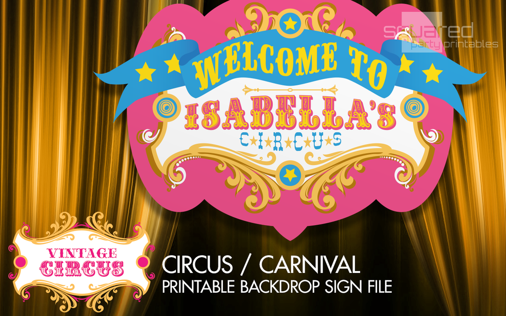 Personalized Circus Birthday Backdrop Party Printable Sign In Bright Pink Colors Vintage Carnival