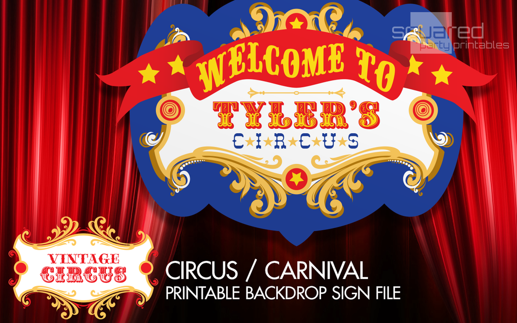 Personalized Circus Birthday Backdrop Party Printable Sign In Primary Colors Vintage Carnival