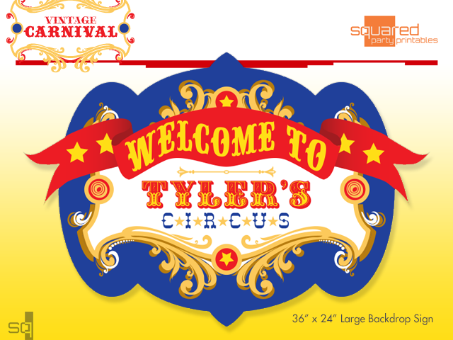 photo about Carnival Printable titled Customized Circus Birthday Backdrop Celebration Printable Indication within just Key Hues, Typical Carnival Bash Signal, Circo Carnaval, PDF record your self print on your own