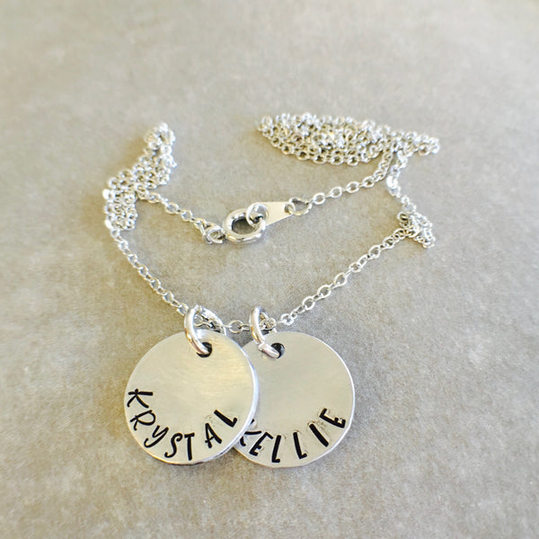 Personalized Hand Stamped 2 Disc Necklace