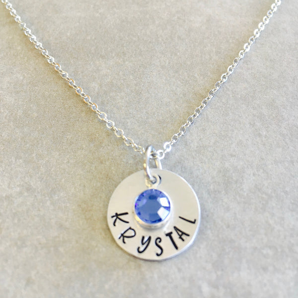 Custom Child Name Personalized Necklace Birthstone
