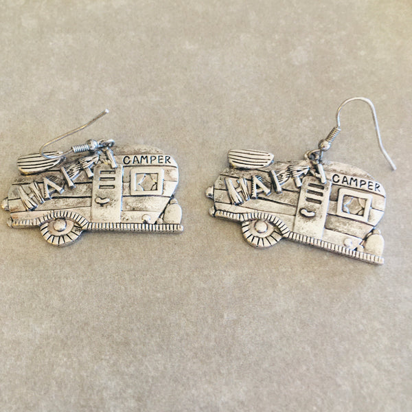 Antique Silver Happy Camper Earrings