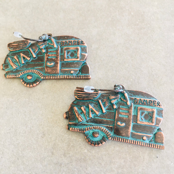 Vintage Patina And Copper Happy Camper Earrings