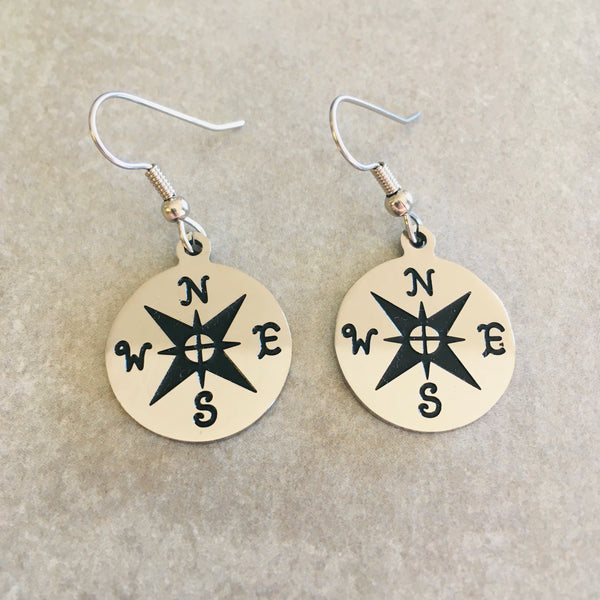 Stainless Steel Compass Earrings