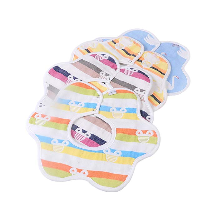 Unisex Animal Stripe Baby Bibs 4 Pack 100% Cotton Infant Handkerchiefs
