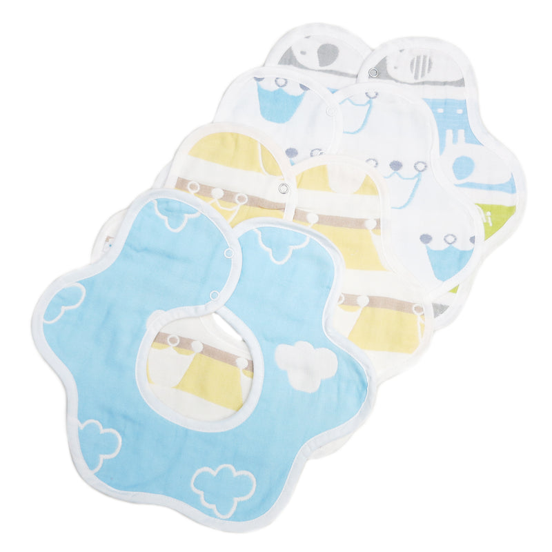 Unisex Cloud/Crown/Elephant Baby Bibs 4 Pack 100% Cotton Infant Handkerchiefs