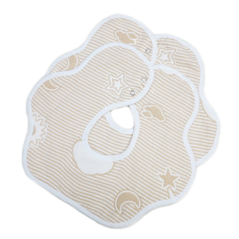 Unisex Cloud/Star/Moon Baby Bibs 2 Pack 100% Cotton Infant Handkerchiefs