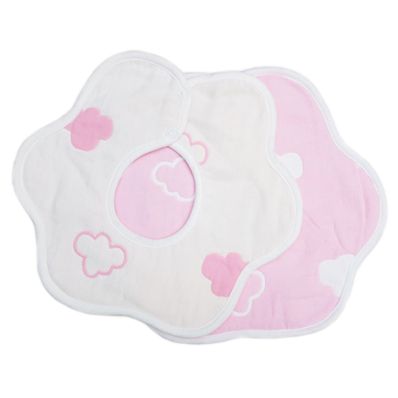 Unisex Pink Cloud Baby Bibs 2 Pack 100% Cotton Infant Handkerchiefs