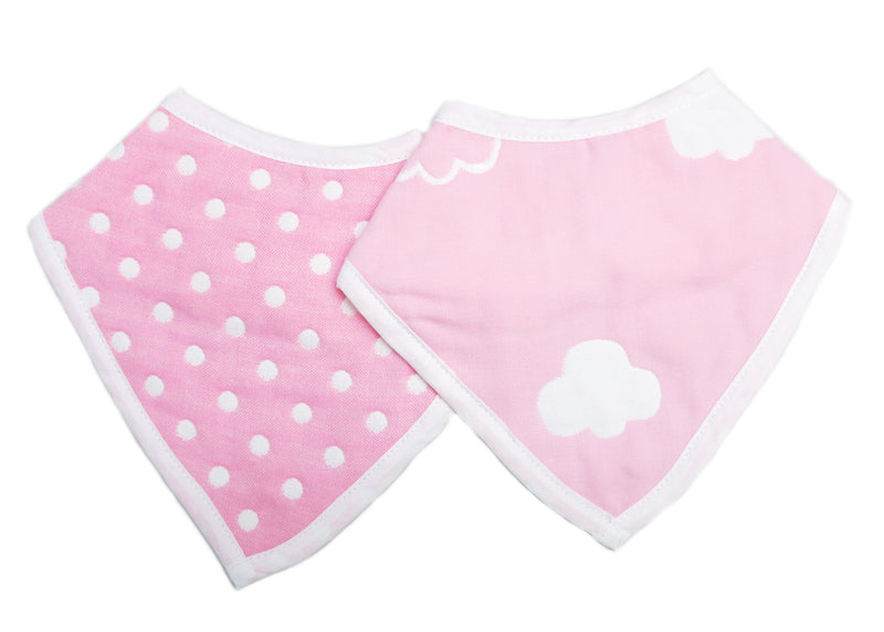 Unisex Baby Organic Cotton Pink Cloud/Pocka dot Bibs 2 Pack Triangle Newborn Bibs Set