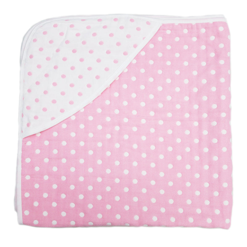 "Pink Polka Dot Cotton Lightweight Baby Blanket 32""x32"""