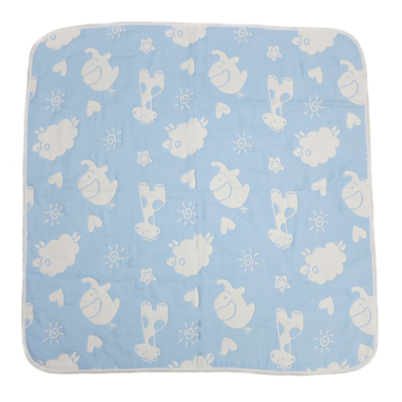 "Blue Animal Print Cotton Lightweight Baby Blanket 32""x32"""