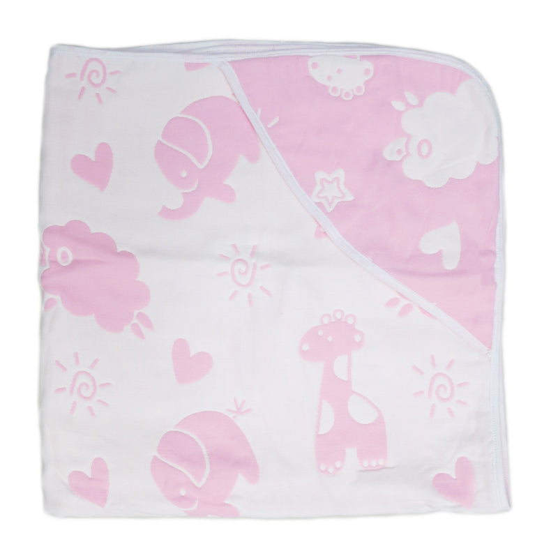 "Pink Animal Print Cotton Lightweight Baby Blanket 32""x32"""