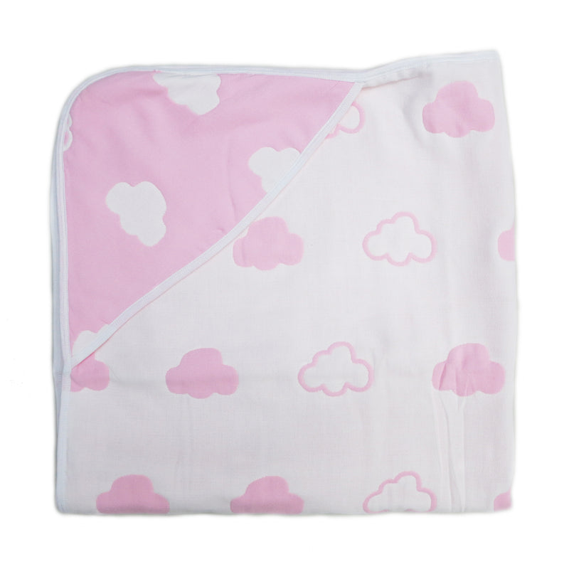 "Pink Cloud Cotton Lightweight Baby Blanket 32""x32"""