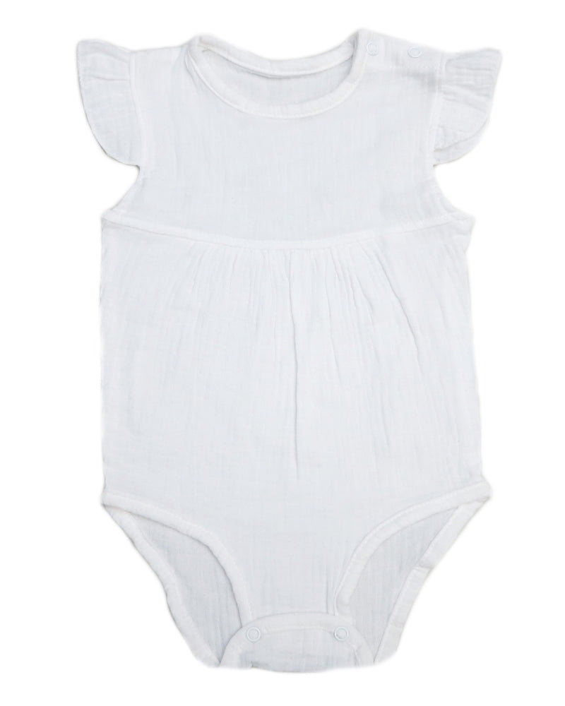 White Unisex baby Sleeveless Bodysuit Summer Cotton Rompers