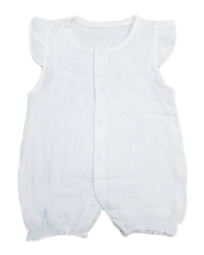White Unisex baby Sleeveless Bodysuit Summer Cotton Toddler Rompers