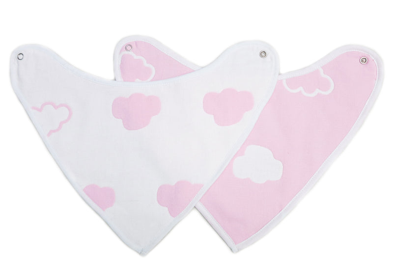 Unisex Baby Organic Cotton Pink Cloud Bibs 2 Pack Triangle Newborn Bibs Set