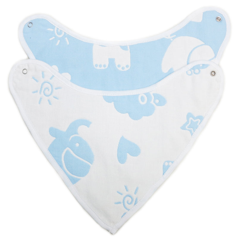Unisex Baby Organic Cotton Blue Elephant Bibs 2 Pack Triangle Newborn Bibs Set