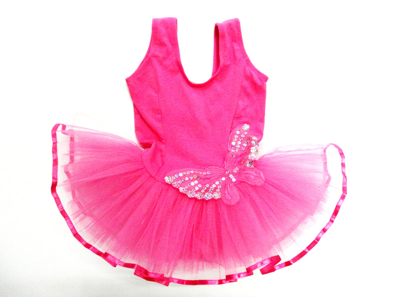 Sequin Butterfly Hot Pink Ballet  Dress
