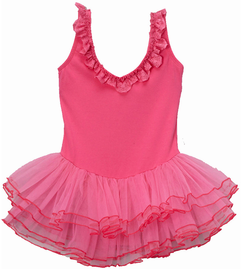 Hot Pink Lace Trim Ballet Dress