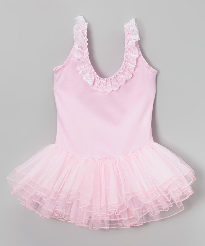 Pink Lace Trim Ballet Dress