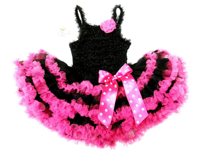Black Ruffle Petti Dress With Hot Pink Trim