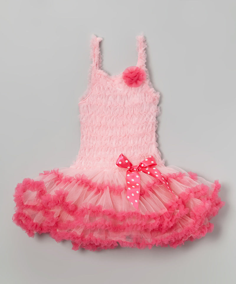 Pink Ruffle Petti Dress With Hot Pink Trim