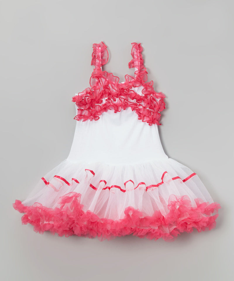 White Petti Dress Hot Pink Ruffle Trim