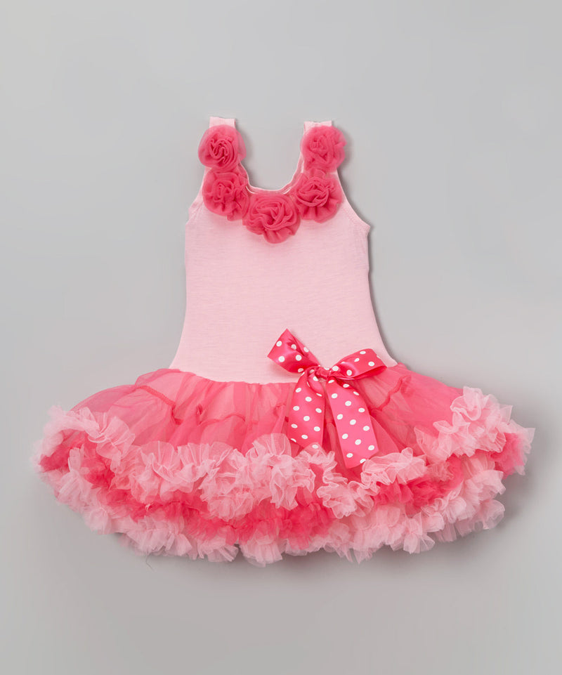 Pink Petti Dress With 5 Rose