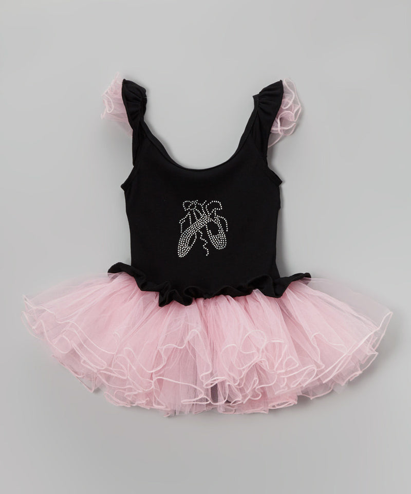 Black Ballet Shoes Ballet Dress Attached Pink Tutu
