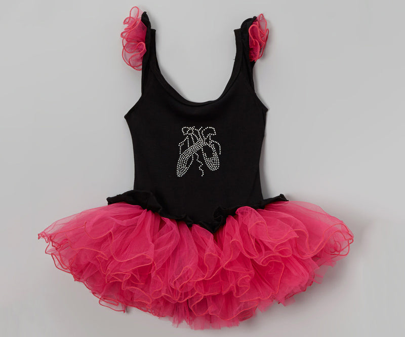 Black/Hot Pink Wave Ballet Shoe Dress