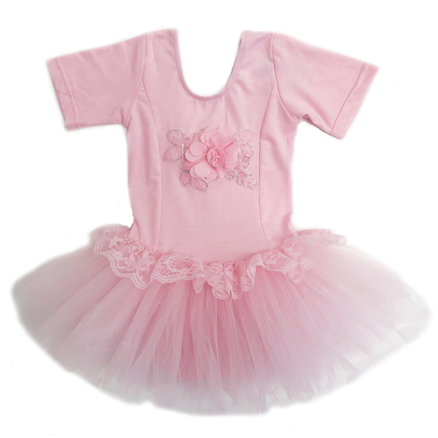Pink Lace Flower Short Sleeve Ballet Dress Wenchoice