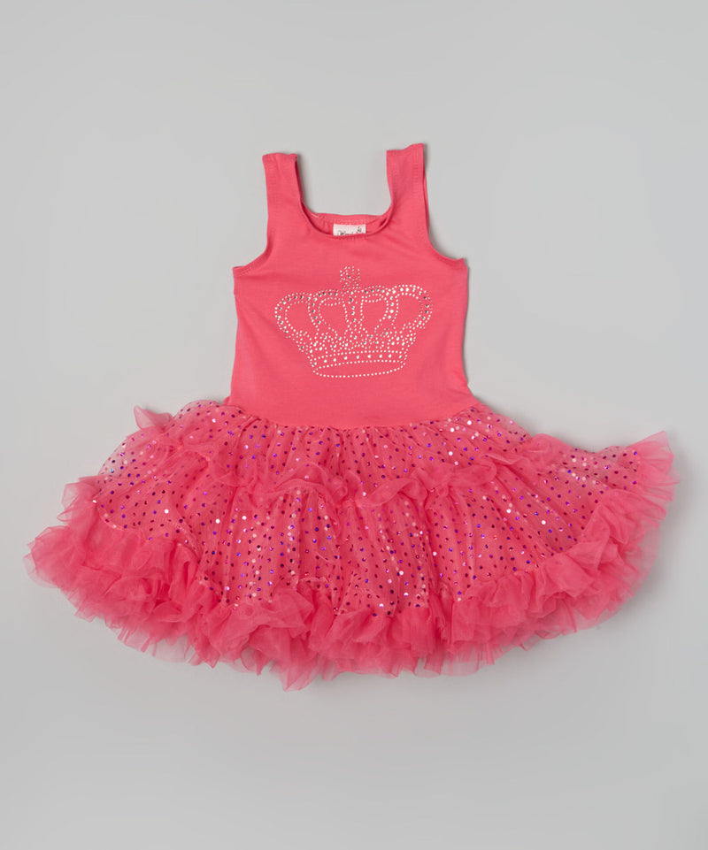 Hot Pink Crown Sparkly Petti Dress