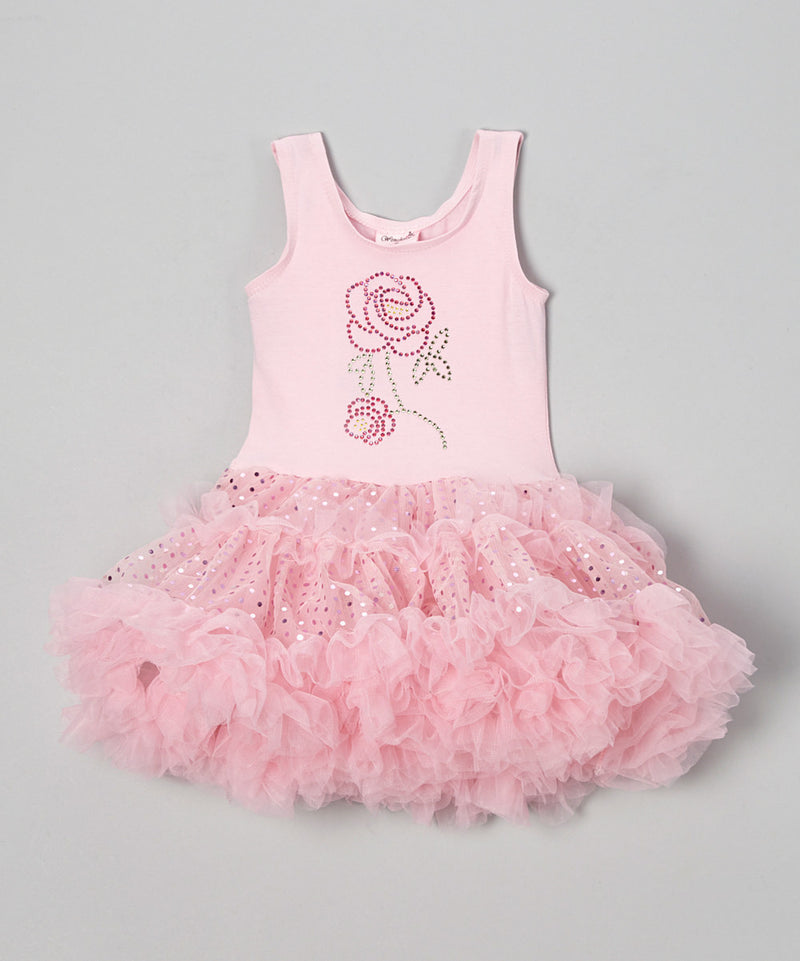 Pink Rose Sparkly Petti Dress